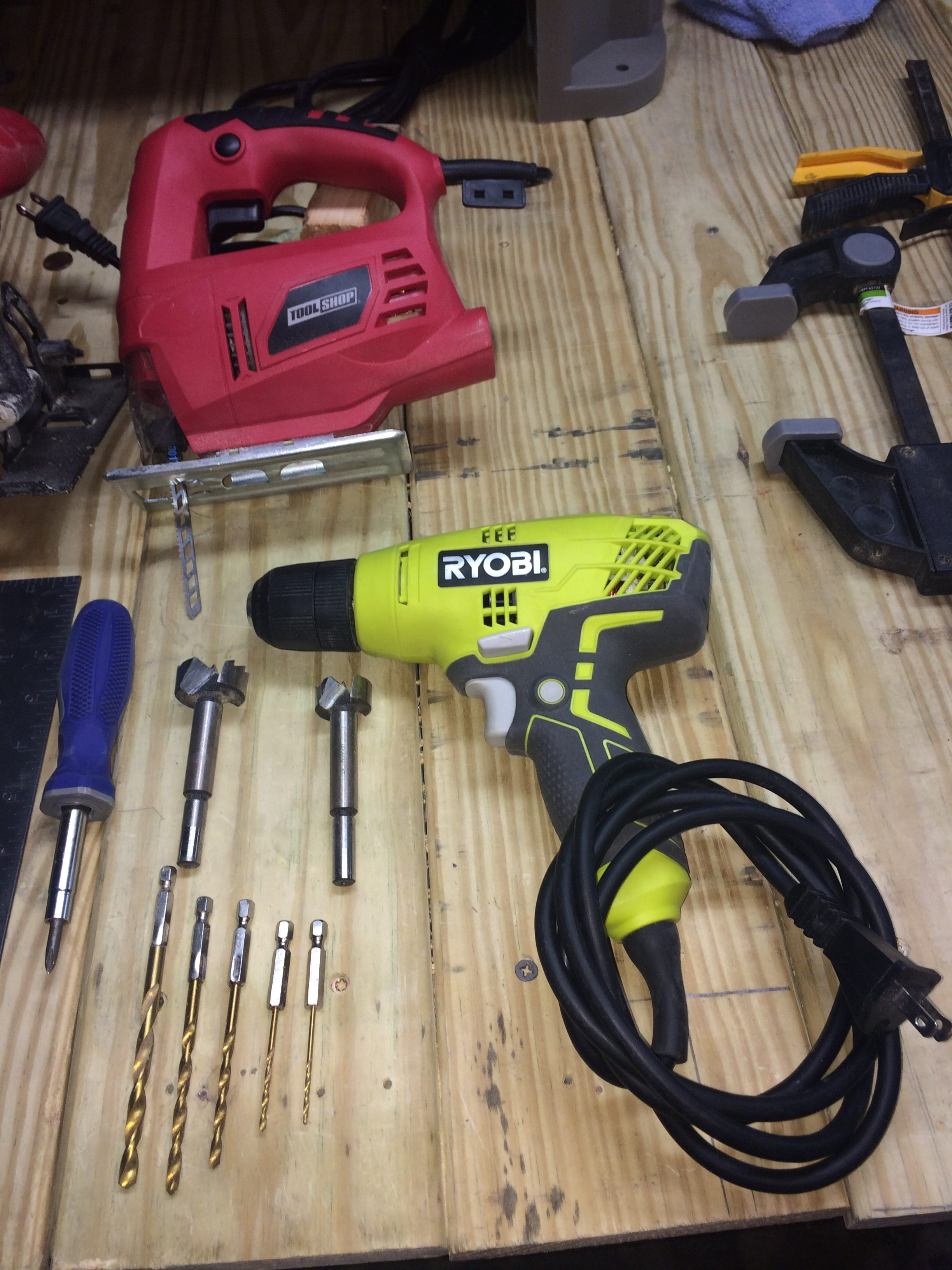 Jig Saw, Dril,Screw Driver, and various Drill Bits